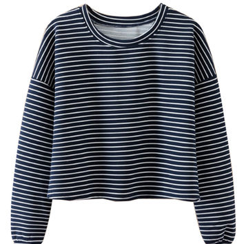 Black Color Block Stripe Print Crop Sweatshirt