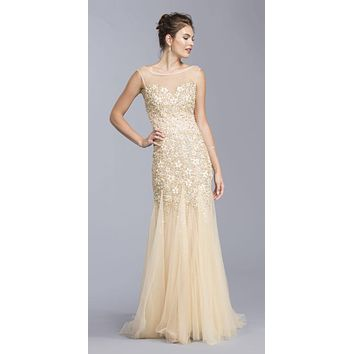 Champagne Mermaid Style Beaded Evening Gown with Godets
