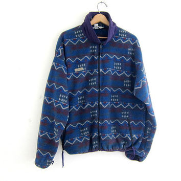 Vintage oversized fleece coat. Zip up Columbia fleece jacket. Blue and purple tribal print fleece. fuzzy jacket.