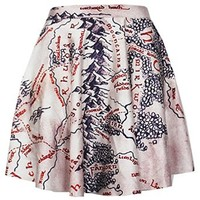 Women's Girls Fashion Middle Earth Map Printed Slim Stretchy Casual Skirt