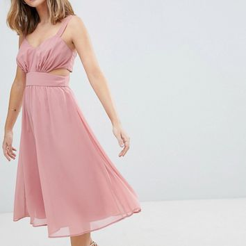 ASOS DESIGN Petite side cut out midi dress with cami straps at asos.com