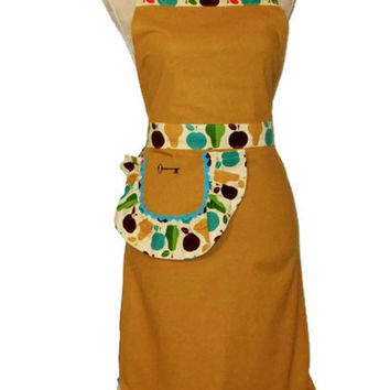 Fruit ( Retro Pears and Apples) Full Apron - Adult