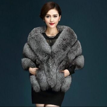 2016 Latest Winter Faux Fur Coats luxury fox fur imitation mink fur poncho bridal wedding dress shawl cape women vest fur coat