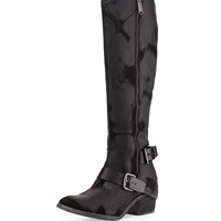 Dela Vintage Suede Riding Boot, Black