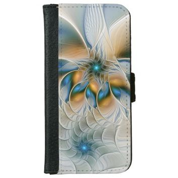 Soaring, Abstract Fantasy Fractal Art With Blue iPhone 6/6s Wallet Case