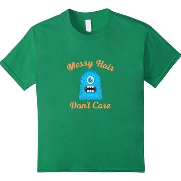 Messy Hair Don't Care Cute Monster Graphic T-Shirt