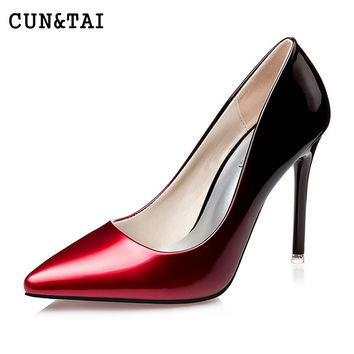 Red bottom High Heels Women Pumps sexy women's pointed toe flock leopard 10cm high heel pump lady party OL all match single shoe