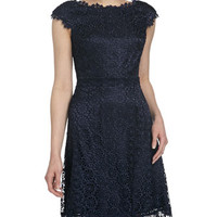 Lace-Overlay A-Line Dress, Inkblot