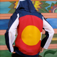 Handmade Colorado Hoodie Windbreaker- american flag clothing- mens clothing- womens clothing - mens jacket - upcycled clothing - flag shirt