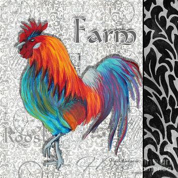 Decorative Rooster Chicken Decorative Art Original Painting King Of The Roost By Megan Duncanson Painting by Megan Duncanson - Decorative Rooster Chicken Decorative Art Original Painting King Of The Roost By Megan Duncanson Fine Art Prints and Posters for