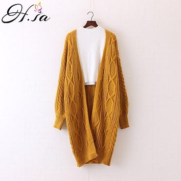 H.SA 2018 Women Long Cardigans Autumn Winter Open Stitch Poncho Knitting Sweater Cardigans V neck Oversized Cardigan Jacket Coat
