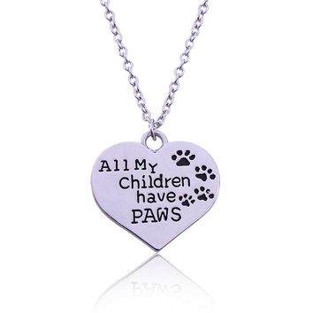 """Fashion Alloy Lettering """"All My Children Have PAWS""""4 Dog Paws Plated Silver Jewelry Heart-Shape Pendant Necklace"""