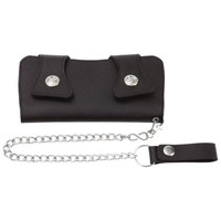 Men's Black Solid Leather Double Snap Biker Chain Bifold Wallet