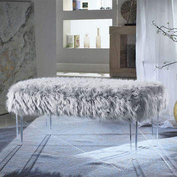 Samuel Gray Faux Fur Bench