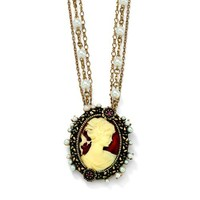 PalmBeach Jewelry Cameo with Crystal Simulated Pearl Accents Pendant Necklace Antiqued Gold Tone