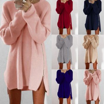DCCKL72 Leisure loose zipper sweater dress