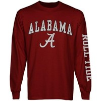 Mens Alabama Crimson Tide Cardinal Arch & Logo Long Sleeve T-Shirt