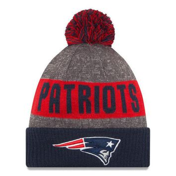 DCCKG8Q NFL New England Patriots New Era Heather Gray 2016 Sideline Official Sport Knit Hat