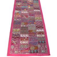 Pink Old Suit Sari Fabric Indian Patchwork Wall Tapestry Runner