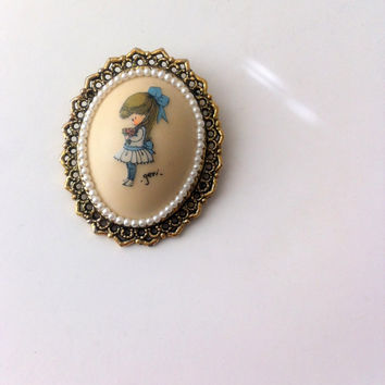 Vintage Cameo Brooch by Geri Victorian Girl In Blue Dress With Nosegay Faux Pearl Cameo