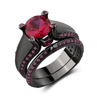 Caperci Black Plated 925 Sterling Silver Created Ruby Wedding Engagement Bridal Ring Set