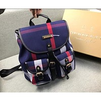 BURBERRY Trending Woman Men Stylish Leather Travel Bookbag Shoulder Bag Backpack Blue