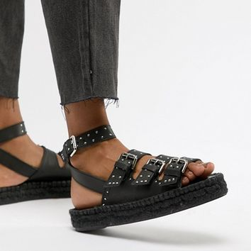 ASOS DESIGN Jaffia Premium Leather Studded Gladiator Espadrilles at asos.com