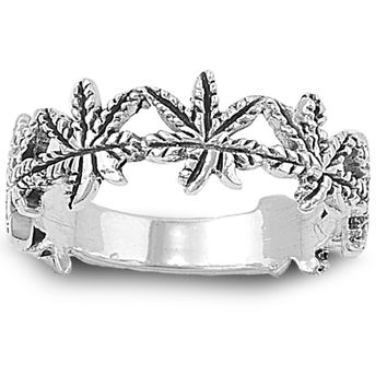 925 Sterling Silver Plant of Longevity Marijuana Ring