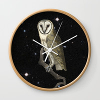 Owl in the Universe Wall Clock by anipani