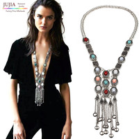 Bohemia Women chic maxi Necklaces Fashion Vintage long tassel pendant Statement Necklaces & Pendants Collares Jewelry