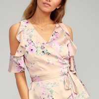 Everything's Bouquet Nude Floral Print Wrap Top