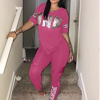 PINK Casual V-Neck Short Sleeve Two-Piece Pants