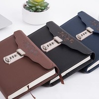 Individual Logo Custom A5 Notebook Writing Pads with Lock PU Leather Notepad Journal Office Diary Binder Woman Man Gift
