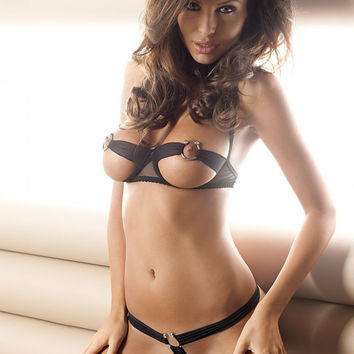 Black Strappy Ring Cut-Out Bra and G-String