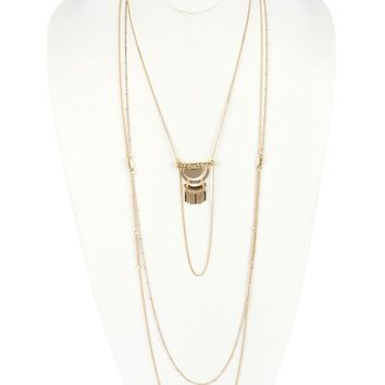 Gold Half Moon Metal Three Layer Chain Necklace