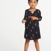 Pintucked Printed Dress for Toddler Girls|old-navy