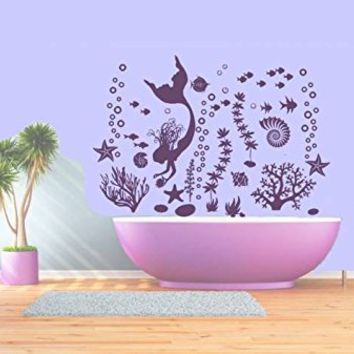 Wall Decals Mermaid Decal Vinyl Sticker Bathroom Window Nursery Children Bedroom Hall Home Decor Dorm Interior Art Murals MN984 (15x22)