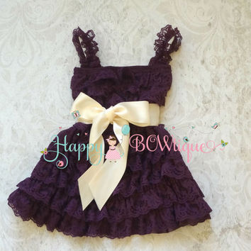 Flower girl dress- Purple Ivory Plum Bow Lace Dress, baby girl dress,Rustic wedding dress,baby dress,flower girl dress,Purple dress,Birthday