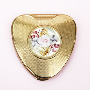 Powder Compact, Kigu Cherie, Heart Compact, Lucite Compact, Imperfect, Flowers, Pastels, Vintage Mirror, Anniversary Gift - 1950s / 1960s