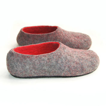 Bespoke Felted Slippers Red Grey Charcoal Customized Color Rubber Sole Women Wool Shoes 100% wool House Shoes Custom made Wool Felted