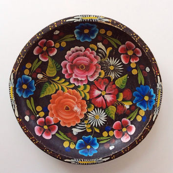 Vintage Hand Painted And Carved Wooden Bowl / Decorative Tray