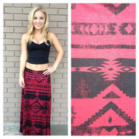Burgundy & Black Tribal Roll Down Maxi Skirt