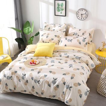 Cool Fruit pineapple Bedding Set Quilt Cover queen full King Size children cartoon duvet cover Set yellow and white Bedclothes 26AT_93_12