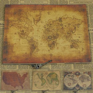 Vintage Paper Retro anime poster - World map poster/Vintage Home Wall sticker Decor 30*21CM