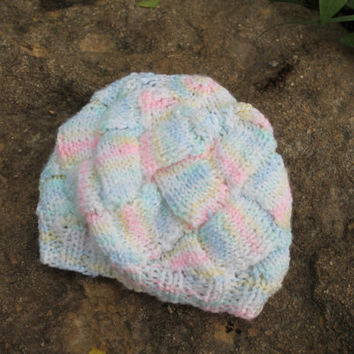 Knitted Baby Hat, Varigated Pastel Colors, Soft, Entrelac, Slouch, Beret, Girl