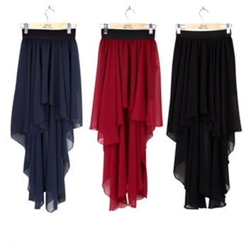 Lady's Sexy Asym Hem Chiffon Skirt High Low Asymmetrical Long Maxi Dress Elastic Waist = 1932603716