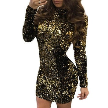 Women Dress Fashion Long Sleeve Sequins Dress Sexy Bandage Bodycon Club Party Dresses Robe Femme Female