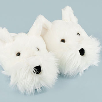 Fuzzy Westie Dog Slippers | Fuzzy Friends Animal Slippers | BunnySlippers.com