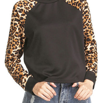 Black Leopard Sleeve Sweatshirt
