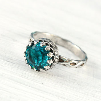 Aqua Blue ring sterling silver with Swarovski crystal, blue zircon, vintage floral band, handmade, 8 mm crown setting, December birthstone